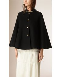 Burberry | Military Detail Cashmere Cape | Lyst