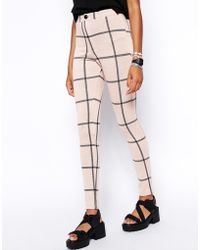 Asos Tube Pants in Check - Lyst