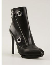 Alexander McQueen Asymmetric Zip Ankle Boots - Lyst