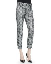 ESCADA Floral Lace-Print Cropped Jeans - Lyst