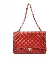 Chanel Authentic Pre-owned Red Quilted Patent Leather Maxi Flap Bag - Lyst