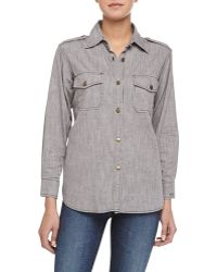 Current/Elliott The Perfect Woven Chambray Shirt - Lyst