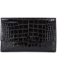 Vince - Medium Black Crocodile-effect Clutch - Lyst