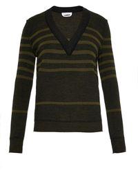 Sonia Rykiel Striped Wool, Silk And Cashmere Sweater khaki - Lyst