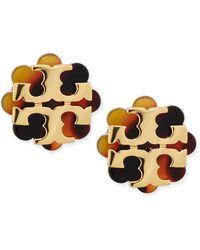 Tory Burch Resin Flower Logo Stud Earrings Havanagold - Lyst