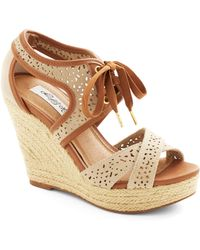 ModCloth Bali Breeze Wedge in Sand - Lyst
