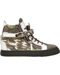 Giuseppe Zanotti 20Mm Embossed Leather High Top Sneakers - Lyst
