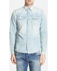 Diesel 'Rupert' Extra Trim Fit Denim Western Shirt blue - Lyst