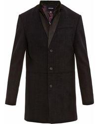 John Varvatos Leather-Collar Coat - Lyst