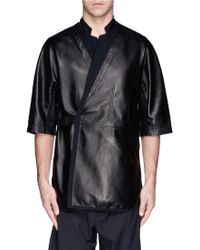 3.1 Phillip Lim Notched Collar Lamb Leather Top - Lyst
