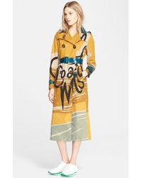 Burberry Prorsum Book Cover Print Double Breasted Trench Coat - Lyst