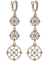 Judith Ripka - Sterling Silver & Sapphire Trellis Triple-drop Earrings - Lyst