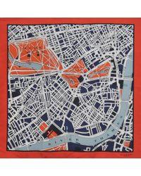Burberry Prorsum Map Silk Scarf 90x90 Cm - Lyst