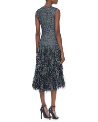 Michael Kors Wool Herringbone Feather Dress - Lyst