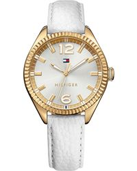 Tommy Hilfiger Women'S White Leather Strap Watch 36Mm 1781517 - Lyst