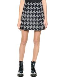Carven Wool Skirt Navy - Lyst