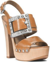 Michael Kors Alena Vachetta Leather Sandal - Lyst