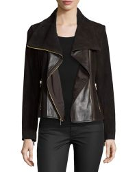 Neiman Marcus - Paneled Suede and Leather Jacket - Lyst