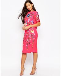 ASOS | Bird And Floral Embroidered Midi Shift Dress | Lyst