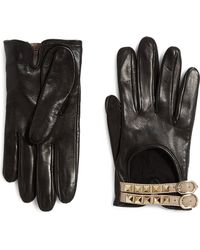 Valentino Rockstud Buckled Leather Gloves - Lyst