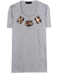 Burberry Prorsum Embellished Jersey Tshirt - Lyst