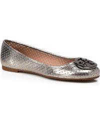 Tory Burch Ballet Flats - Reva Perforated Metallic - Lyst