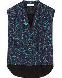Prabal Gurung Metallic-Embroidered Chiffon And Silk-Satin Top - Lyst