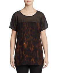 Grayse Studded Animal-Print Silk Top - Lyst