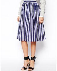 Asos Woven Midi Skirt In Stripe - Lyst