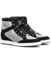 Jimmy Choo Tokyo Suede and Glitter High-top Sneakers - Lyst