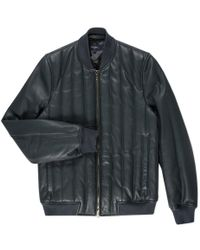 Paul Smith | Men's Slate Grey Quilted Leather Bomber Jacket | Lyst