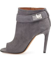 Givenchy   Suede Shark-lock Open-toe Bootie   Lyst
