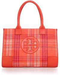 Tory Burch Ella Mini Plaid Woven Cotton & Leather Tote - Lyst