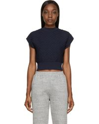 3.1 Phillip Lim Navy Cropped Ribbed Sweater - Lyst