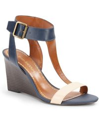 Enzo Angiolini - Colorblocked-Leather T-Strap Wedge Sandals - Lyst
