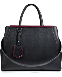 Fendi Leather 2jours Tote in Blackwine - Lyst
