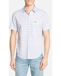 Lacoste Trim Fit Short Sleeve Check Poplin Shirt blue - Lyst