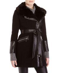 Via Spiga Petite Black Faux Fur Trim Belted Coat - Lyst