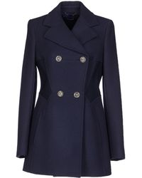 Versace Blue Coat - Lyst