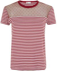 RED Valentino Tulle Insert Striped T-Shirt - Lyst