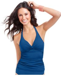 Gottex Ruched Halter Tankini Top - Lyst