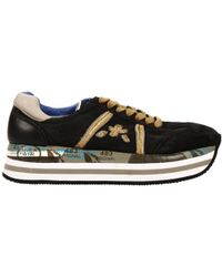 Premiata Bets Sneakers 4cm Wedge Suede and Laminate Leather - Lyst