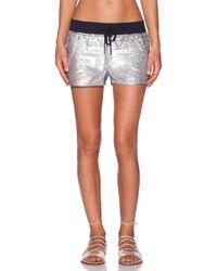 True Religion Sequinned Mini Shorts blue - Lyst