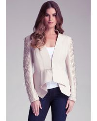 Bebe Spike Sleeve Leather Jacket - Natural
