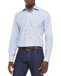 Etro Sealife-print Fine-striped Shirt - Lyst