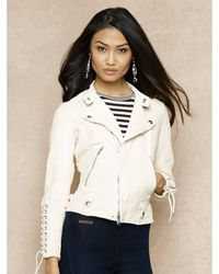 Ralph Lauren Blue Label Washed Leather Moto Jacket - Lyst