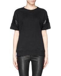 Rag & Bone Lira Leather Insert Short Sleeve Sweatshirt - Lyst