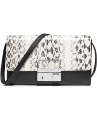 Michael Kors Gia Snakeskin & Leather Convertible Clutch black - Lyst