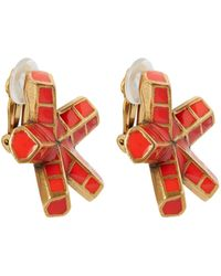 Oscar de la Renta Red Anemone Resin Clip-On Earrings - Lyst