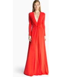 Halston Draped Jersey Gown - Lyst